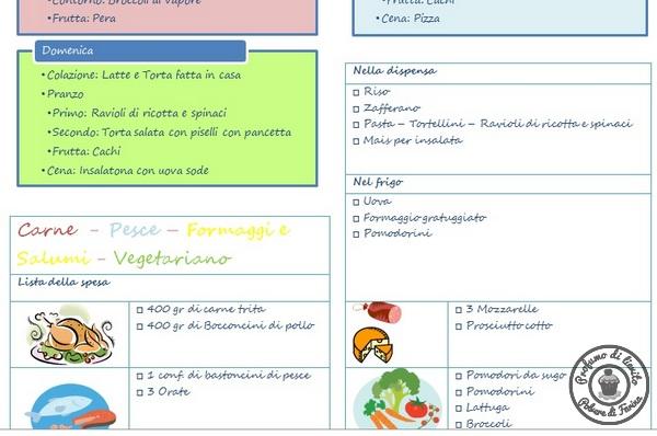 menù planning settimanale – 7 soluzioni per una cena senza pensieri